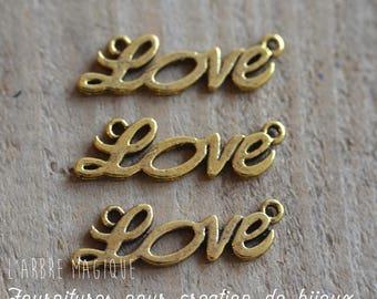 """4 connectors fancy """"LOVE"""" gold tone color"""