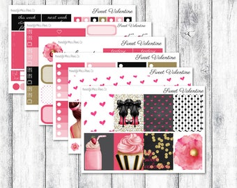 Sweet Valentine // Weekly Sticker Kit // Erin Condren Vertical // Valentine's Day Weekly Sticker Kit