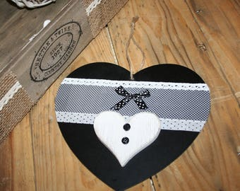 hanging heart black and white lace and polka dots