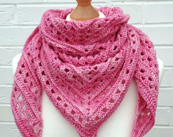 Crochet Lace Shawl - Bubblegum Pink - Summer Party Variegated Pink Shawlette - Knitted Shoulder Festival Scarf - Girls Beach Knit Wrap