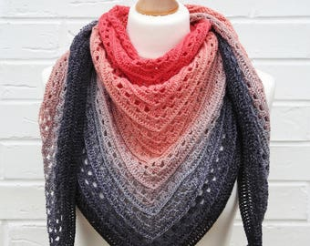 Crochet Lace Shawl Gradient Watermelon Pink to Black, Summer Shawlette, Knitted Shoulder Scarf, Ocean Beach Island Knit Wrap, Triangle Shawl