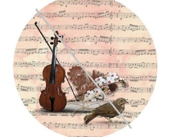 cabochon 25mm, music, violin and bird
