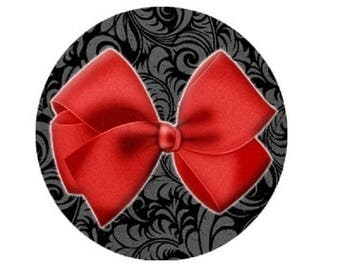 cabochon 20mm red bow