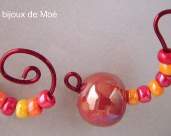 warm tones set Pearl ceramic and glass beads