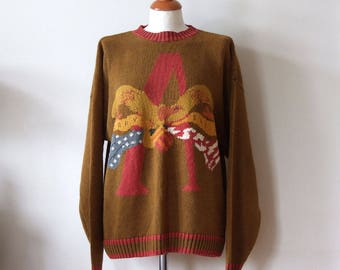 Vintage Perry Ellis cotton sweater hand knitted, American Eagle sweater, golden khaki and fall foliage colors sweater, Vintage Americana