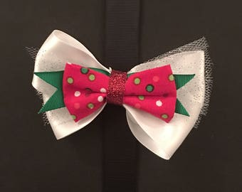 White and Red Polka Dot Bow