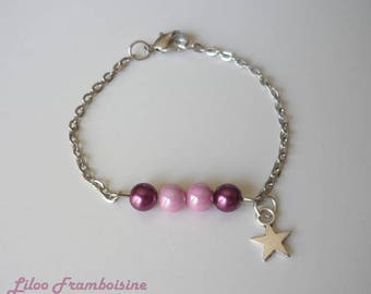Bracelet chain silver metal star and pearls