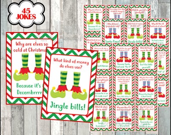 Elf Jokes & Riddles Cards, Printable Elf Feet tags, Christmas Gift Tags, printable, Instant download