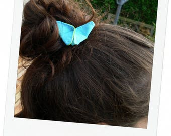 2 hair clips hair origami Butterfly green flashy/Turquoise 6.5 x 4