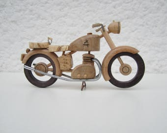 Twin wooden motorcycle.