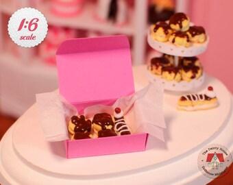 Miniature Cream Puffs & Eclair Box - Chocolate, Cream Puffs for Barbie or Blythe, 1/6 Scale Dollhouse Desserts