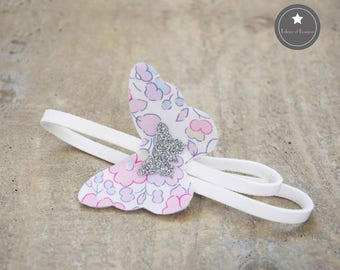 Headband thin suede Butterfly Liberty Betsy pink blotter