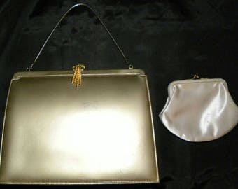Vintage 1950's Andrew Geller Gold Metallic leather Evening Bag with coin purse