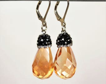 Victorian earrings drops translucent glass rhinestone black beige sleepers Silver 925 earrings retro glamour