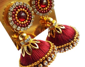 Gunu Handmade malticolour silk thread Earring