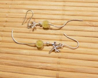 Minimalist earrings lime green Crystal beads 925 sterling silver