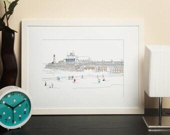Dorset Artwork Print - Bournemouth Pier Line Art View 1 - by Jo Parry