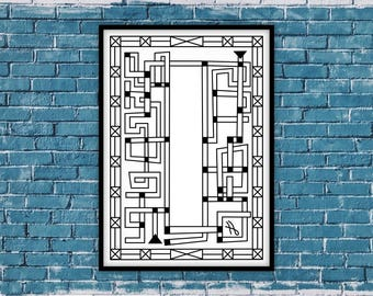"Printable Wall Art, Art & Collectibles, Printable Mazes, Black and White Wall Art, Printable Poster Home and Office Decor, ""Pipeline 1"""