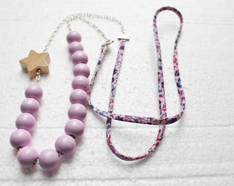 Pink Pearl necklace, Star and Ribbon