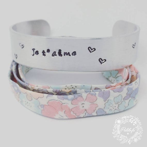 Personalized Bangle Bracelet cuff in silver with personalized engraving by Palilo jewelry