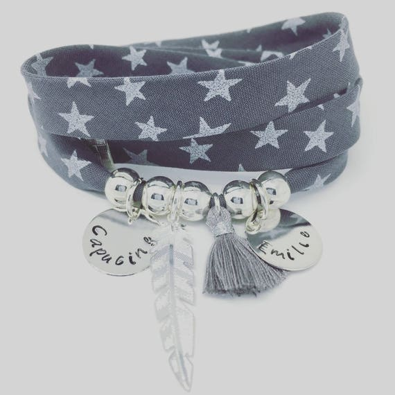 Custom Creation Bracelet Indelebile ★ ★ grey GriGri XL with 2 custom ENGRAVINGS, silver feather and tassel by Palilo
