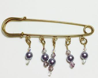 Mauve Pink Pearl Crystal Beaded 14K Shawl Brooch Kilt Pin