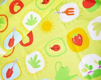 "Lime green cotton fabric fruit & vegetables ""Market"""
