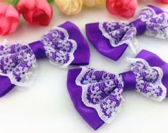 5 fabric 55mm Purple Purple Purple white bow lace bow