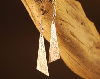 """Hammered"" Silver triangle earrings"