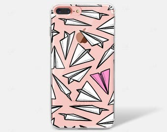 Stand Out Paper Planes Pink Plane Pattern Print Clear Silicone TPU iPhone Case iPhone 6 iPhone 7 iPhone 7 PLUS iPhone 6 PLUS