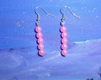 Earrings pink synthetic pearls