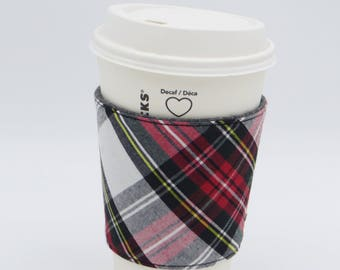 Tartan Reusable Reversible Fabric Coffee Cup Cosy Sleeve | Cup Cosy | Cup Sleeve | Fabric Cup Holder | Coffee Cup Cosy | Coffee Cup Sleeve
