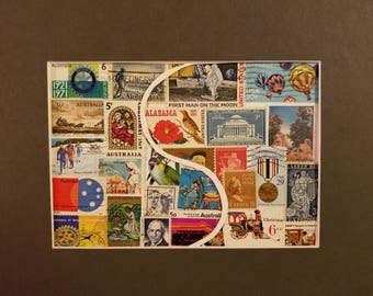 Postage Stamp Collage - Yin Yang Australia / USA