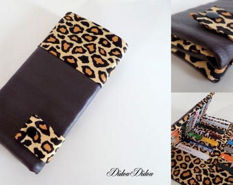 "chocolate leatherette loyalty card holder and famous fabric ""roar"""