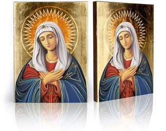 Icon Mother of Mercy - handmade religious wood icon, gilded, beautiful gift, 4 sizes to choose.