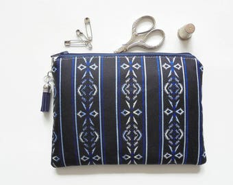 Mum gifts, Zipper Pouch, Indigo, Navajo, small zipper bag, sewing pouch, wallet pouch.
