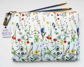9.7 iPad floral sleeve,botanical,flower stems,travel bag, cosmetic bag, zip bag, make up bag, wash bag,wash bag,floral bag.