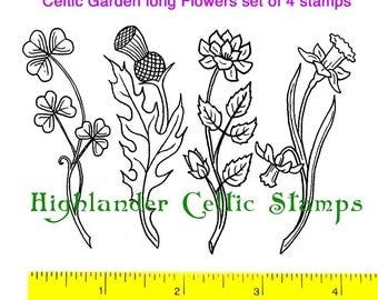 Celtic Garden Flowers set of 4 Unmounted Rubber Stamps #448