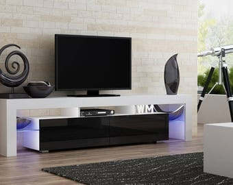 Helios 200 modern tv stand for living room / tv entertainment center with LED lighting system / Color white and black