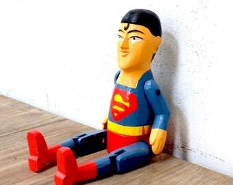 Wooden Superman Puppet - Handmade