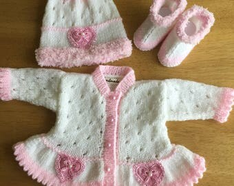 Little girls cardigan hat and booties set