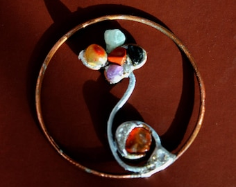 Copper flowers and real stones