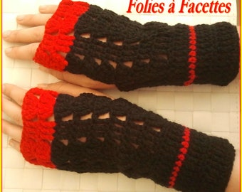 fingerless mittens in bright red and black crochet yarn