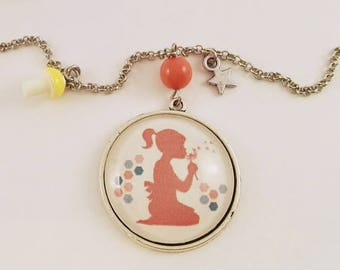 "Cabochon-> ""Little girl & flower"" pendant necklace"