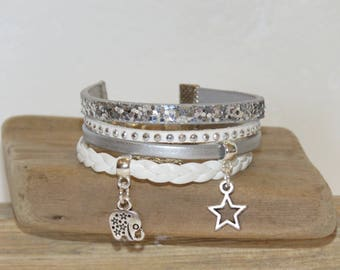"Girl ""elephant and Star"" Cuff Bracelet leather leather, suede - white and silver glitter"