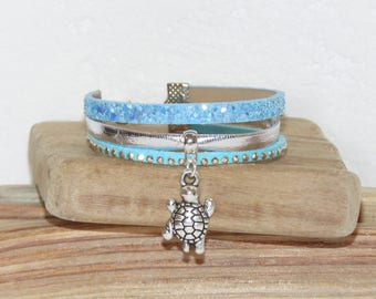Cuff Bracelet girl, blue, silver, glitter, studded, suede leather leather, turtle charm