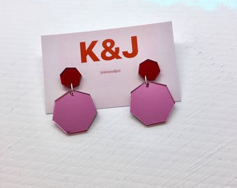 Small Pink & Red Heptagon Drops - Mirror Collection