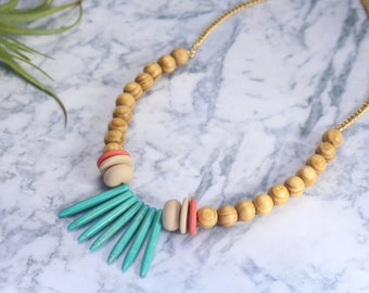 beads necklace, colorful necklace, statement necklace, colorful beads necklace, beaded necklace, gift for her, turquoise jewelry