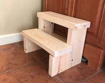 Kids 2 Step Stepping Stool - Reclaimed Wood - Unfinished