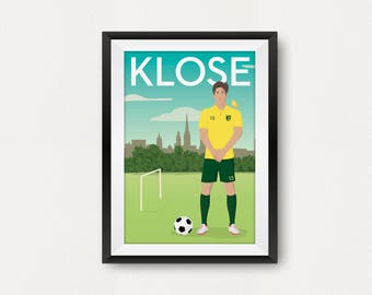 Retro Norwich Player Poster. Timm Klose. Carrow Road. Travel Poster Style. Fan Art. Canaries
